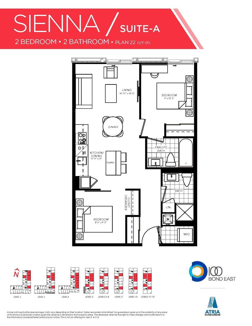 2 Bedrooms, 2 Bathrooms SIENNA-A Model