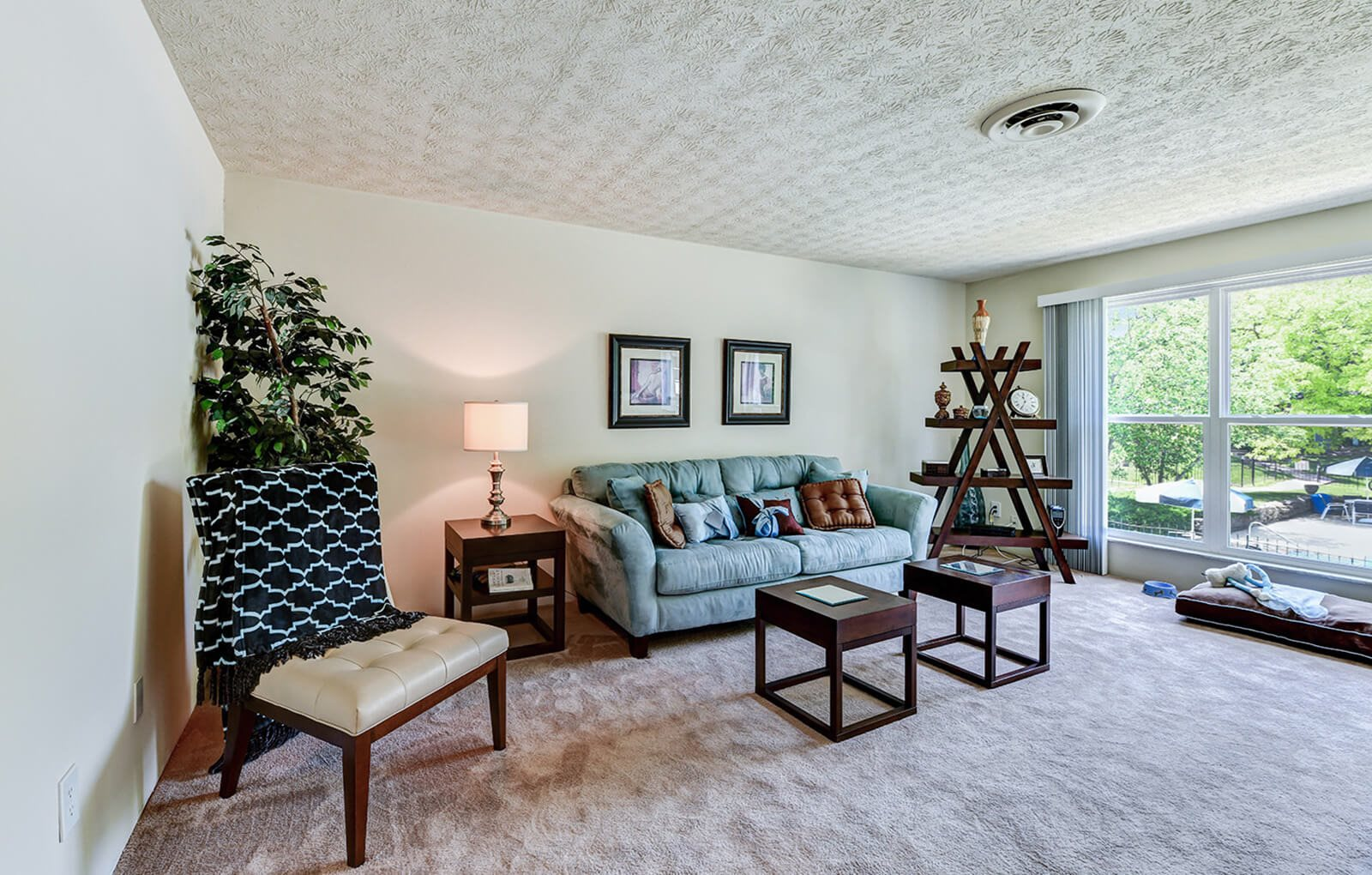 living room at carriage Hill apartments