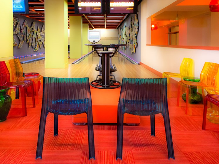 Bowling alley with tables and chairs