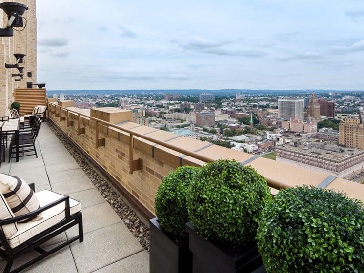 Expansive outdoor terrace overlooking Newark skyline