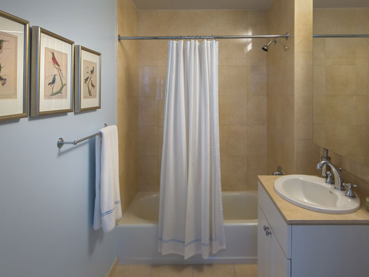 Bathroom with tub shower combo and single vanity