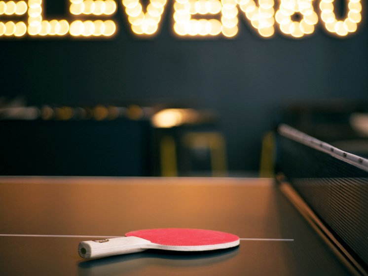 Gaming lounge with ping pong table