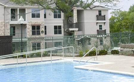 The Mondello Apartments Pool Area and Trees