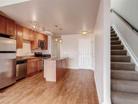 Model kitchen and staircase