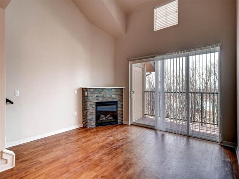 Model living room with fireplace