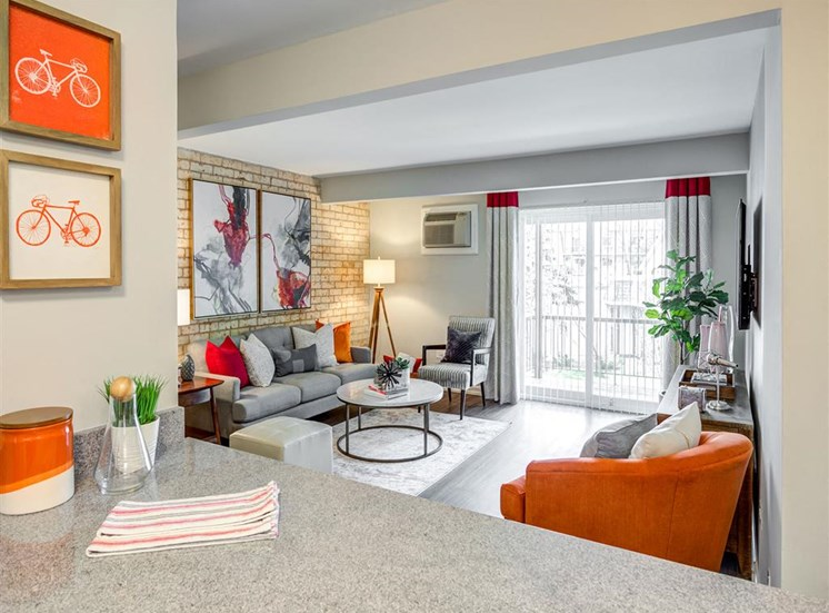 Classic Living Room Design With Television at Orion ParkView, Mount Prospect