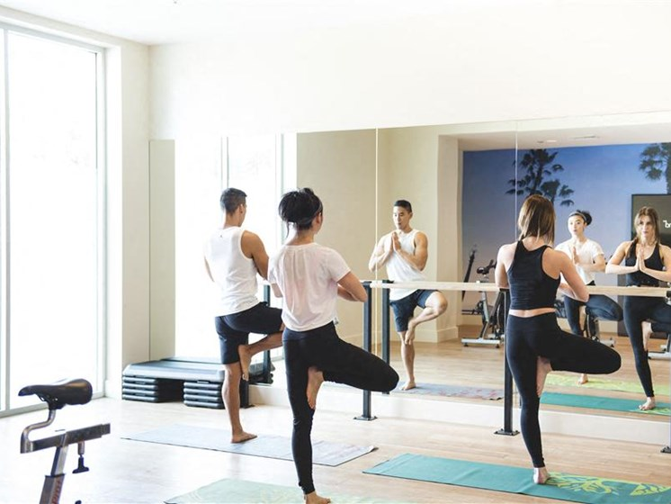 Yoga in gym at apartment building near downtown koreatown la