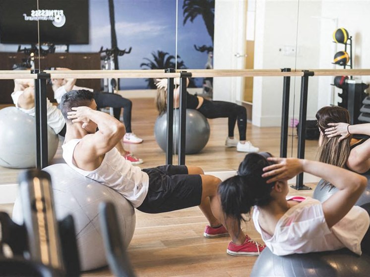 Gym with workout class at apartment in koreatown