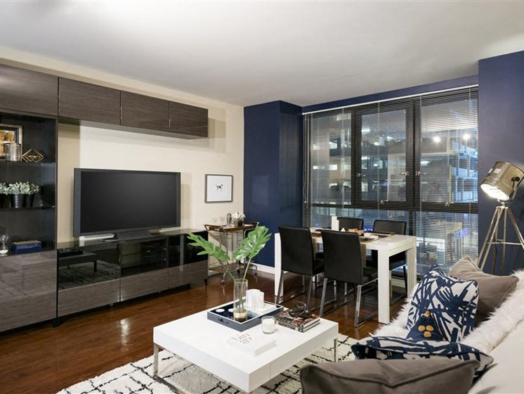 Living Room with modern entertainment console