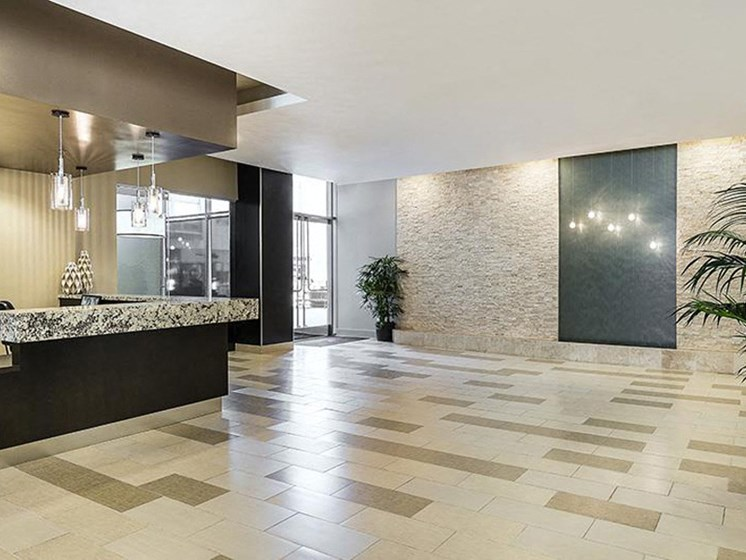 Lobby with front desk and modern interior decoration for apartments near koreatown