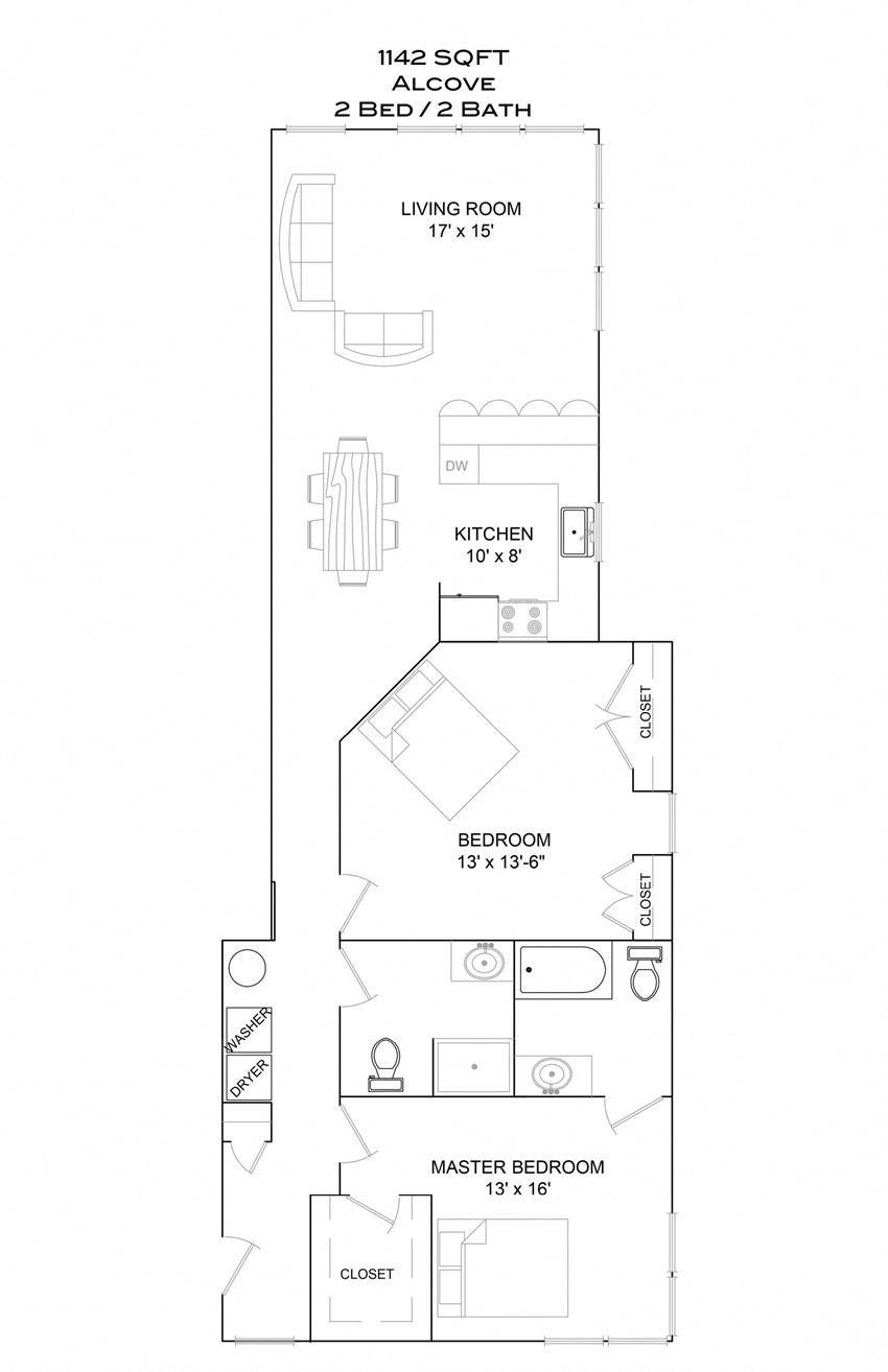 Alcove - 2bd/2b/2nd floor sunset viewADA