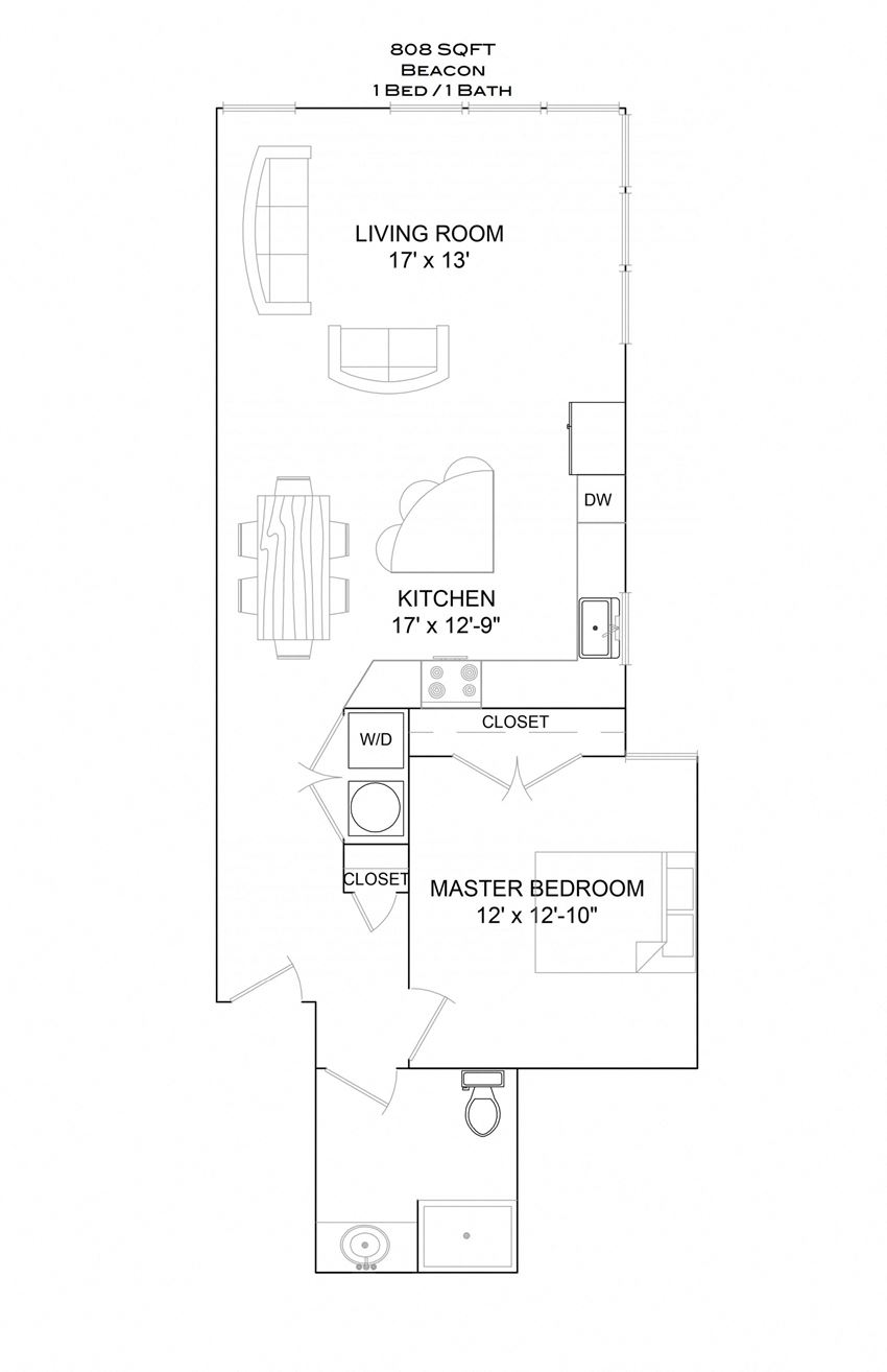 Beacon - 1bd/1b/1st floor