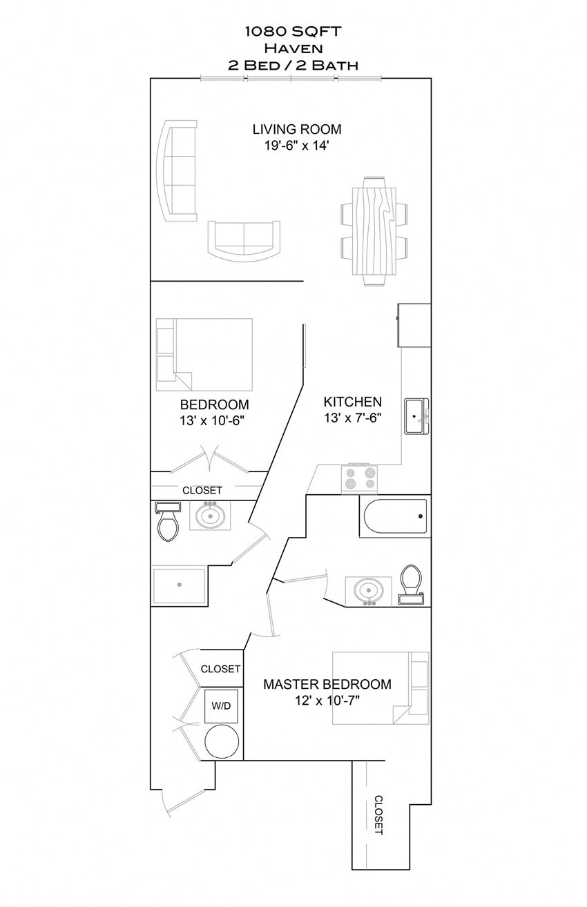 Haven - 2bd/2b/2nd floor