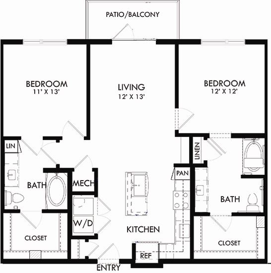 Canal 2 bedroom, 2 bath. L-shaped kitchen with pantry and coat closet at entry. Washer/dryer. standard tub in 2nd bedroom. garden tub in master. Linen closets. Built-in shelving in living area. patio.