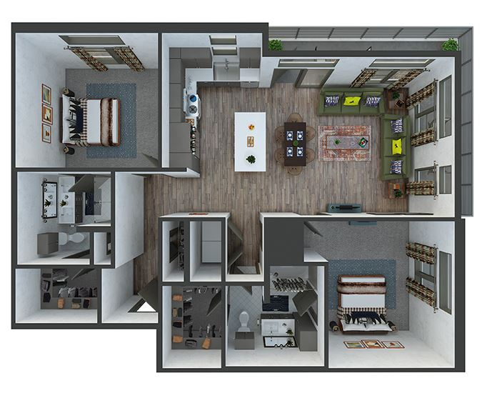 broadway 2 bedroom, 2 bath. L-shaped kitchen with island and pantry. Coat closet in entry hallway. double vanity bath and standalone shower in master. linen closets. washer/dryer. patio/balcony