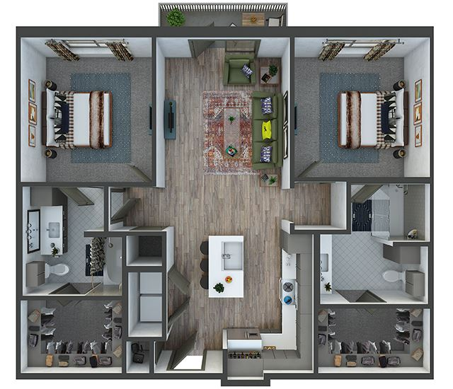 Houston 2 bedroom, 2 bath. L-shaped kitchen with island and pantry. Standalone shower in 2nd bedroom. Washer/dryer. coat closet at entry. Patio/Balcony