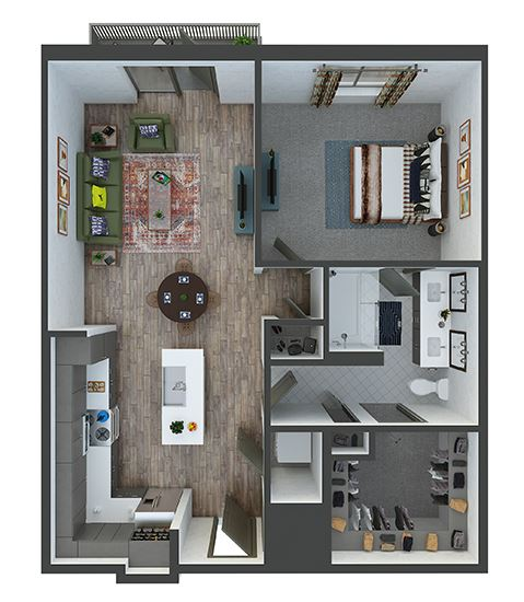 madison 1 bedroom, 1 bath. L-shaped kitchen with pantry, double sink vanity. standalone shower. linen closet. washer/dryer. Patio/Balcony