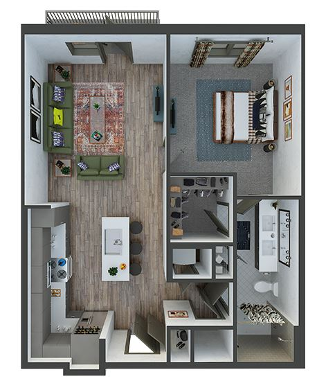 Maiden 1 bedroom, 1 bath. Kitchen with island and pantry. Coat closet at entry. Stackable Washer/Dryer. double sink vanity. Linen closet. Patio/Balcony.