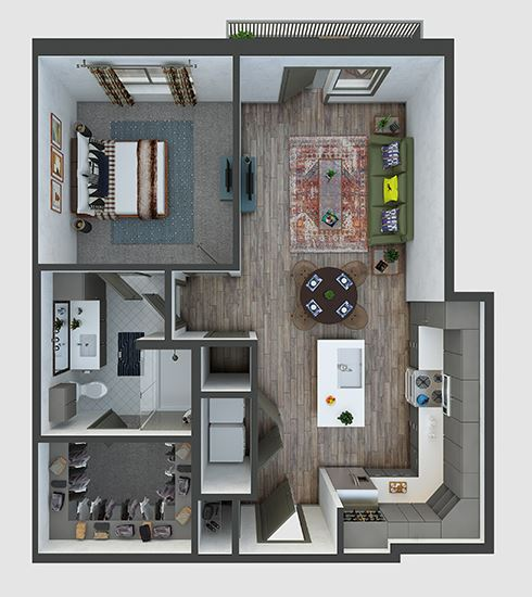 Park 1 bedroom, 1 bath. L-shaped kitchen with island, pantry. Coat Closet at entry. linen in bath. Standalone shower. washer/dryer. patio/balcony.
