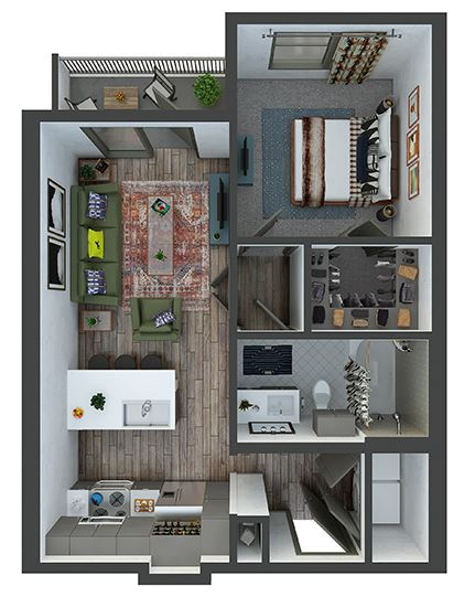 Victory - 1 Bedroom, 1 Bath. Galley Kitchen with Peninsula Bartop. Pantry, Washer/Dryer. Patio/Balcony