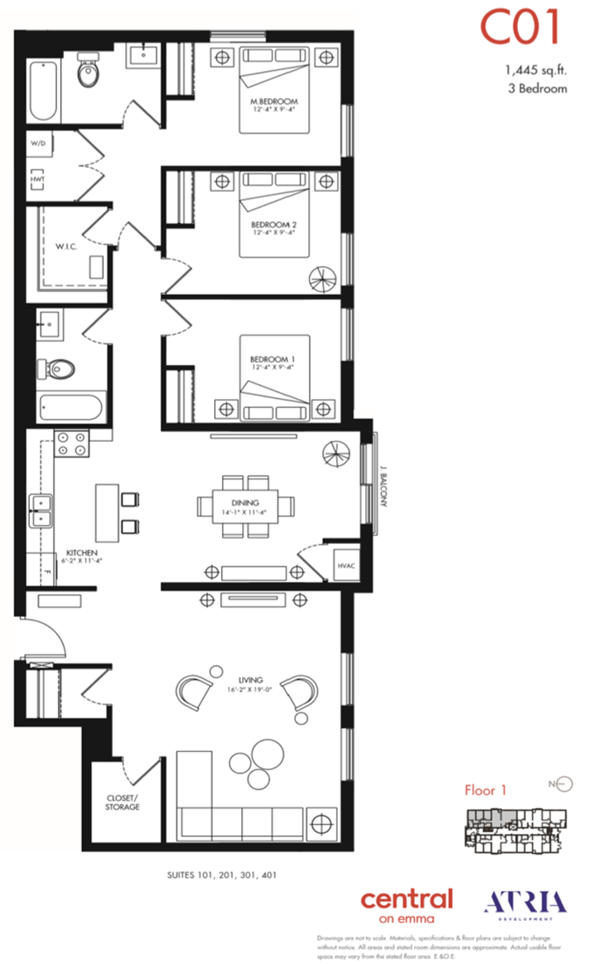 3 Bedroom, 2 Bathroom, Storage C01 Model