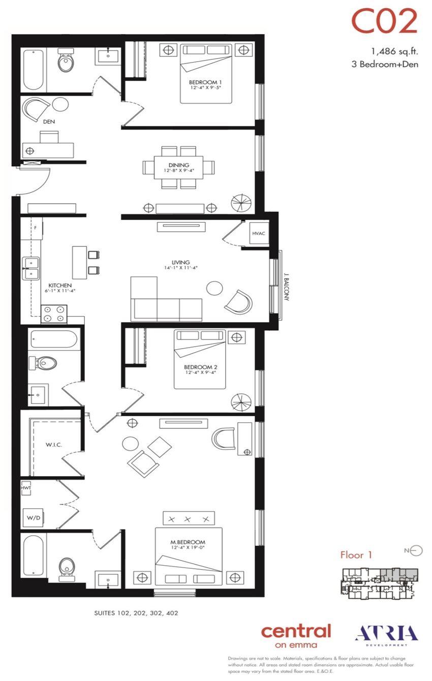 3 Bedrooms, 3 Bathrooms + Den C02 Emma