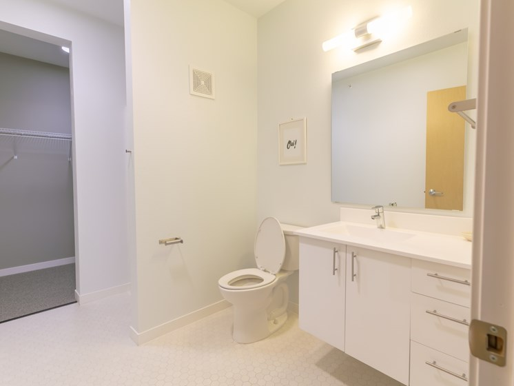 Large master bathroom with attached walk-in closet