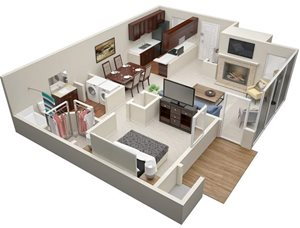Summerchase at Riverchase one bedroom & one bathroom floor plan with 806 square feet called Chestnut in Tampa, FL