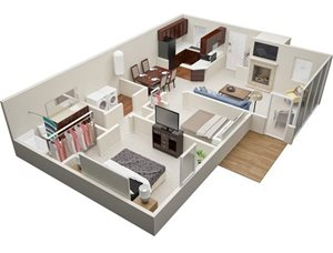 Summerchase at Riverchase two bedroom & one bathroom floor plan with 995 square feet called Palomino in Tampa, FL