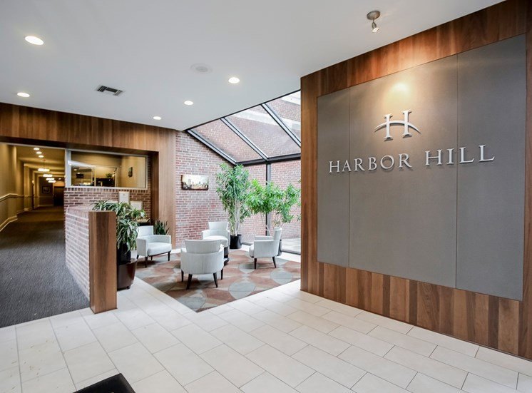 Harbor Hill Apartments lobby and coffee bar