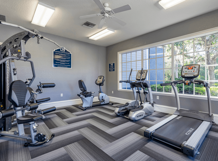 Fitness center with strength training equipment, cardio equipment, carpet flooring, multi speed ceiling fan, and large windows for natural lighting