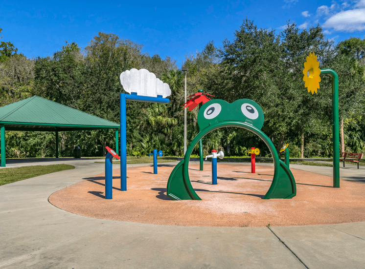 Outdoor playground and shaded picnic seating