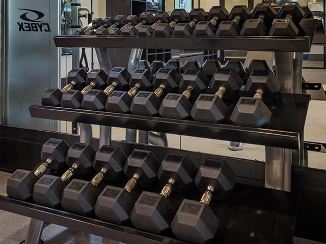 Free Weights In Gym at Abberly Square Apartment Homes, Waldorf, Maryland