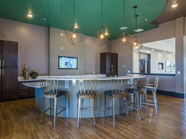 Clubhouse Kitchen Breakfast Bar with Stools at Abberly Square Apartment Homes, Waldorf, 20601