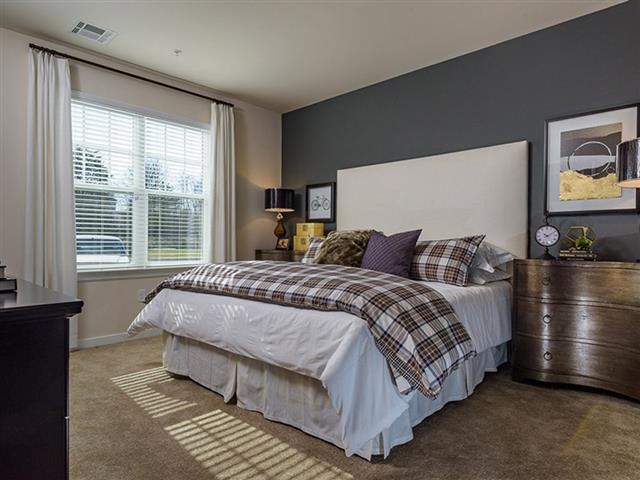 Bedroom With Expansive Windows at Abberly Square Apartment Homes, Maryland