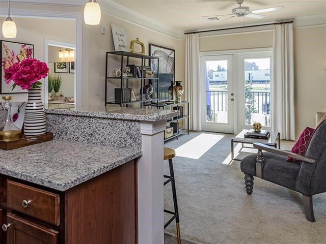 Spacious Living Room With Private Balcony at Abberly Square Apartment Homes, Waldorf, Maryland