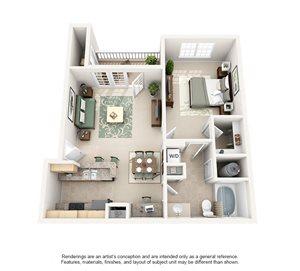 1 Bedroom (760 sf)