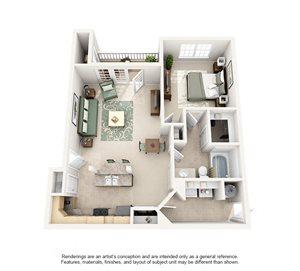 1 Bedroom (806 sf)