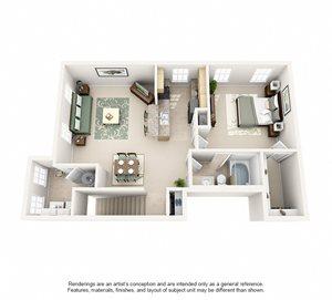 1 Bedroom (891 sf)