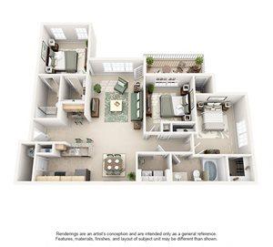 3 Bedroom (1309 sf)