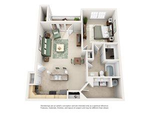 1 Bedroom (786 sf)