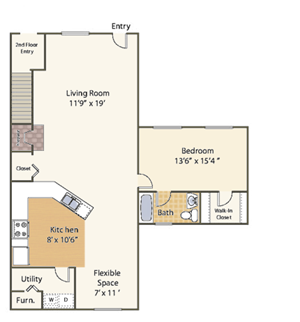 1 Bedroom with Flex Space