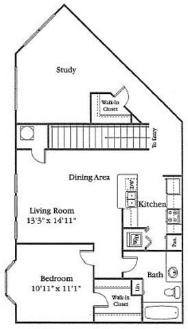 1 Bed 1 Bath with Study