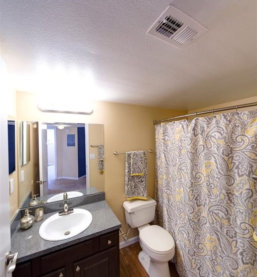 Bathroom With Large Mirror And Vanity Lighting at Holly Cove Apartments, Florida