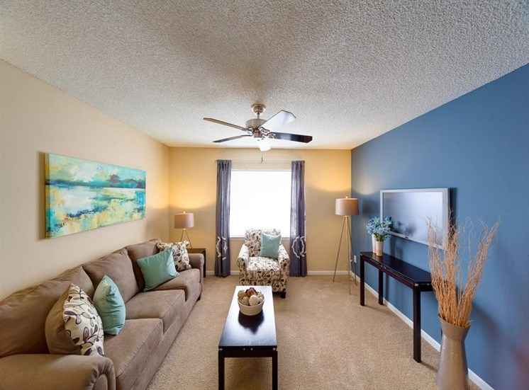 Classic Living Room Design With Television at Holly Cove Apartments, Orange Park, FL