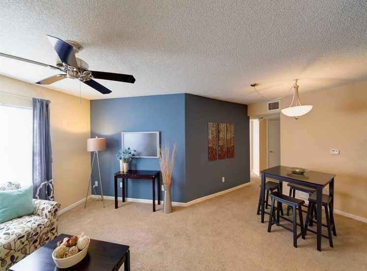 Furnished Living Room With Carpeting at Holly Cove Apartments, Orange Park, FL, 32073
