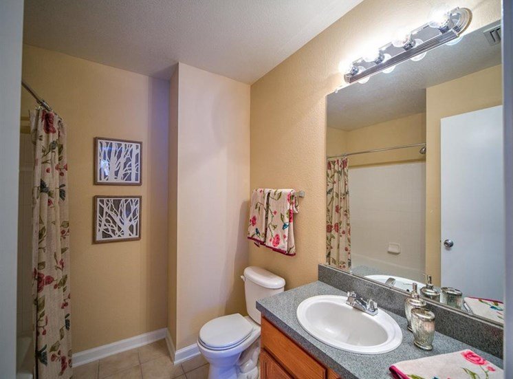 Furnished model bathroom with large mirror and vanity lighting