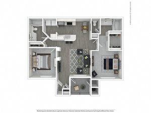 2 Bed - 2 Bath |1,060 sq.ft. 2X2R