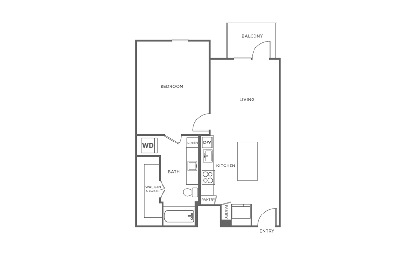 Floorplan showing the A2 floorplan for The Margo
