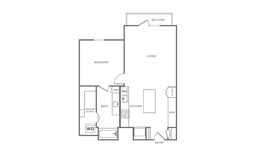 Floorplan showing the A6 floorplan for The Margo Apartments